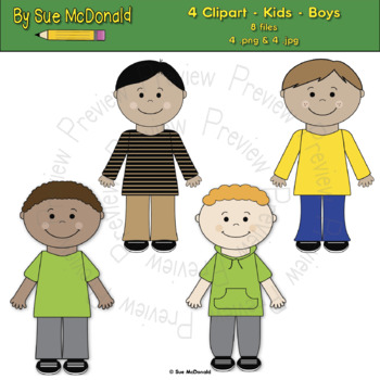 Clipart - Kids - Boys - 4 High Quality Vector Graphics