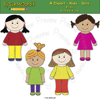 Clipart - Kids - Girls - 4 High Quality Vector Graphics