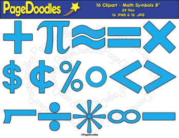 Clipart, Math Symbols, Blue, for TPT Sellers - High Quality Vector Graphics