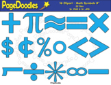 Clipart, Math Symbols, Blue, for TPT Sellers - High Qualit