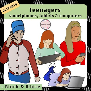 ClipArts - Tweens and Teenagers with Smartphones, Tablets and Computers