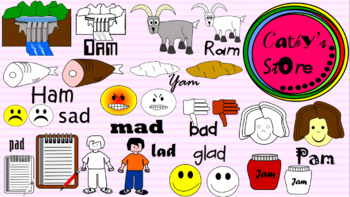 Cliparts for Short a sound; phonics; Rhyming words