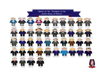 Modified Lessons Clipart of the 44 Presidents of the United States of America