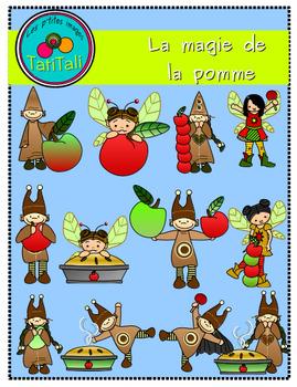 Cliparts:  the magic of apple  -  La magie de la pomme:  Cliparts