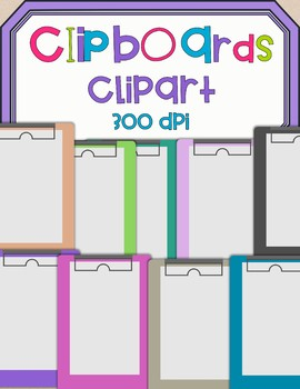 Clipboard Clip Art - 9 total colors *Freebie* Commercial Use OK