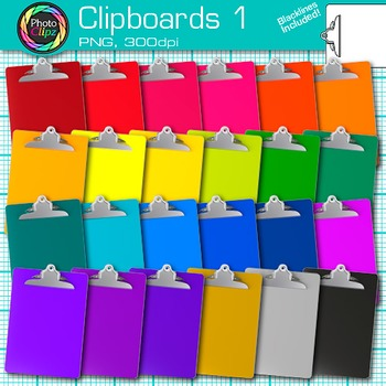 Rainbow Clipboards Clip Art {Back to School Supplies for Classroom Resources} 1