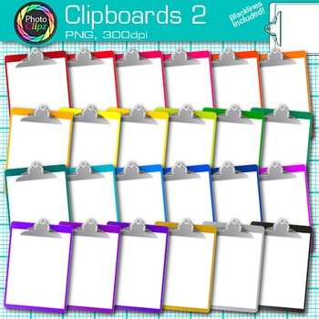 Rainbow Clipboards Clip Art {Back to School Supplies for Classroom Resources} 2