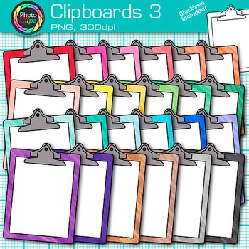 Rainbow Clipboards Clip Art {Back to School Supplies for Classroom Resources} 3