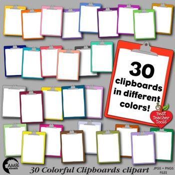 Clipboard Clipart, 30 Multi-Colored Clipboards, {Best Teacher Tools} AMB-1845