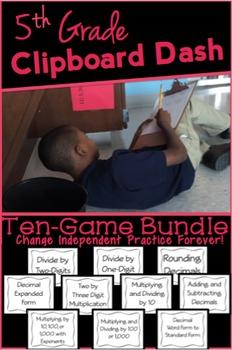 Clipboard Dash: 5th Grade 10 Game Bundle