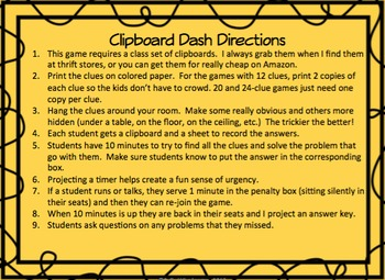 Clipboard Dash: 5th Grade 10 Game Bundle