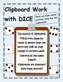 Clipboard Dice Activities