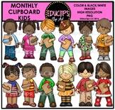 Monthly Clipboard Kids Clip Art Bundle {Educlips Clipart}