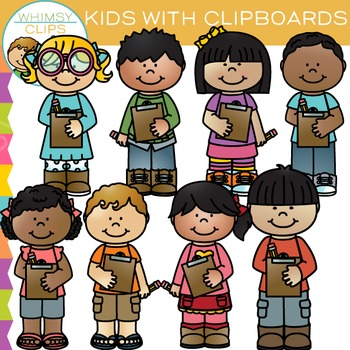 Kids with Clipboards: Writing Clip Art