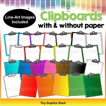 Clipboards Clip Art - with and without paper