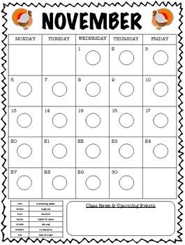 Clipchart Behavior Management System (2017-2018) - Behavior Calendars ONLY