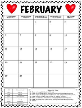 Clipchart Behavior Management System with Monthly Behavior Calendars (2016-2017)