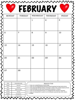 Clipchart Behavior Management System with Monthly Behavior Calendars (2018-2019)