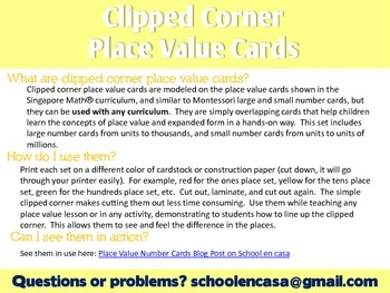 Clipped Corner Place Value Cards [English]