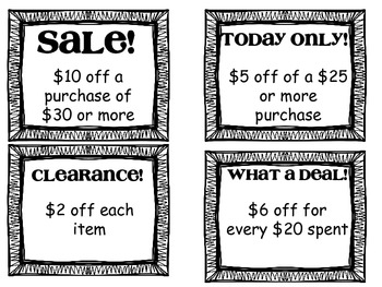 Clipping Coupons- Subtracting money in real world scenarios 2. OA.A.1