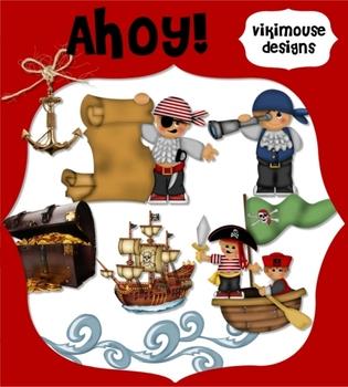 Clips Ahoy!  Pirate Clipart (clip art) Digital Download