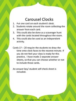 Clock Activity Pack: Carousel Clocks, Share-Share-Switch, Scavenger Hunt