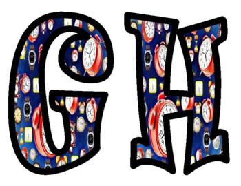 Clock Alphabet Bulletin Board Letters