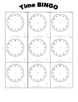 Clock BINGO Template