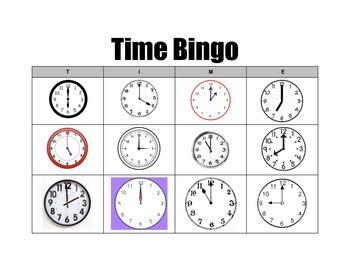 Clock Bingo Boards