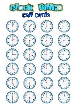 Clock Bingo (Time Bingo) HOUR & HALF HOUR - 32 Cards