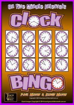 Clock Bingo (Time Bingo) - 5 Minute Intervals - 32 Cards