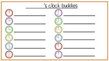 Clock Buddies - A classroom buddy system that reinforces o'clock times