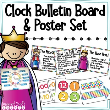 Clock Bulletin Board and Poster Set