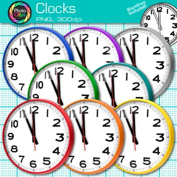 Rainbow Clock Clip Art {Free Measurement Tool Graphics for Math Resources}