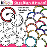 Clock Clip Art Every 15 Minutes | Measurement Tools for Telling Time
