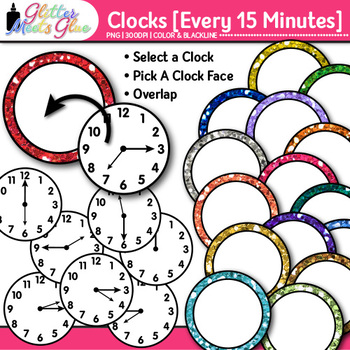 Clock Clip Art Every 15 Minutes   Measurement Tools for Telling Time