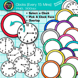Clock Clip Art Every 15 Minutes {Measurement Tools for Telling Time}