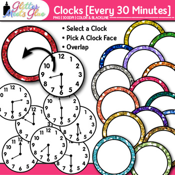 Clock Clip Art Every 30 Minutes: Telling Time Graphics {Glitter Meets Glue}
