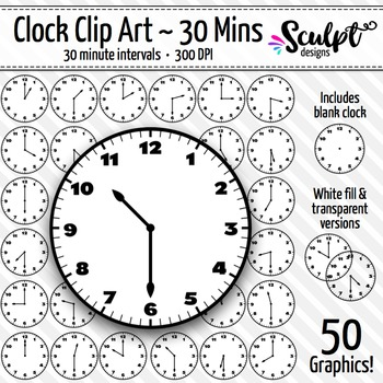 Clock Clip Art ~ Every 30 Minutes