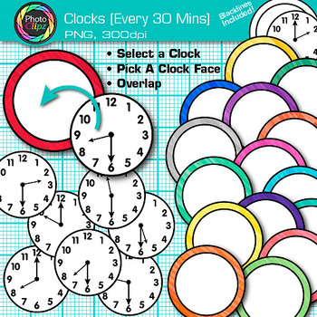 Clock Clip Art Every 30 Minutes {Measurement Tools for Telling Time}