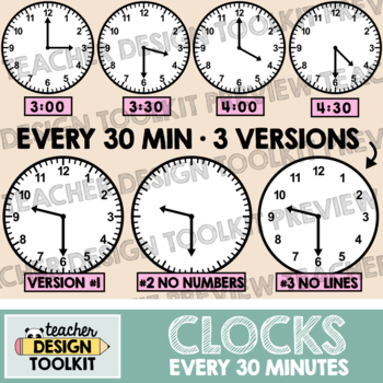 Clocks Clip Art: Every 30 Minutes