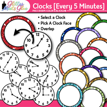 Clock Clip Art Every 5 Minutes: Telling Time Graphics {Glitter Meets Glue}