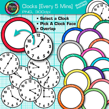 Clock Clip Art Every 5 Minutes {Measurement Tools for Tell
