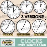 Clocks Clip Art: Every 5 Minutes