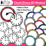 Clock Clip Art Every 60 Minutes | Measurement Tools for Telling Time