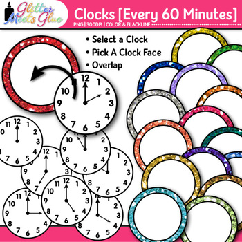 Clock Clip Art Every 60 Minutes: Telling Time Graphics {Glitter Meets Glue}
