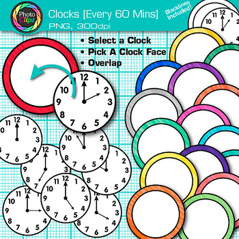 Clock Clip Art Every 60 Minutes {Measurement Tools for Telling Time}