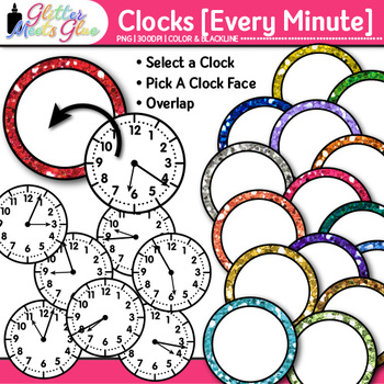 Clock Clip Art Every Minute | Measurement Tools for Telling Time