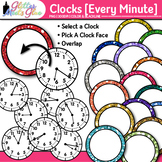 Clock Clip Art Every Minute: Telling Time Graphics {Glitter Meets Glue}
