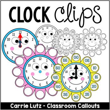 Clock Clip Art Faces with Petals